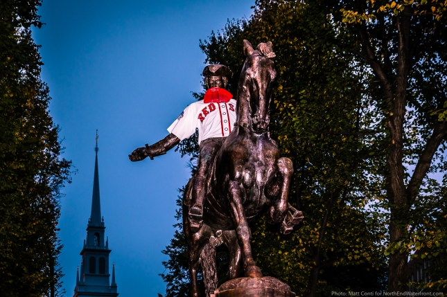 Paul Revere Statue with Red Sox Jersey and Beard - World Series 2013.CR2