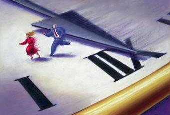 Couple Running Across Clock