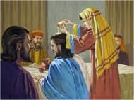 Mary anoints Jesus head