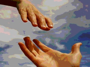 Jesus hand reaching ours-PP-posterized