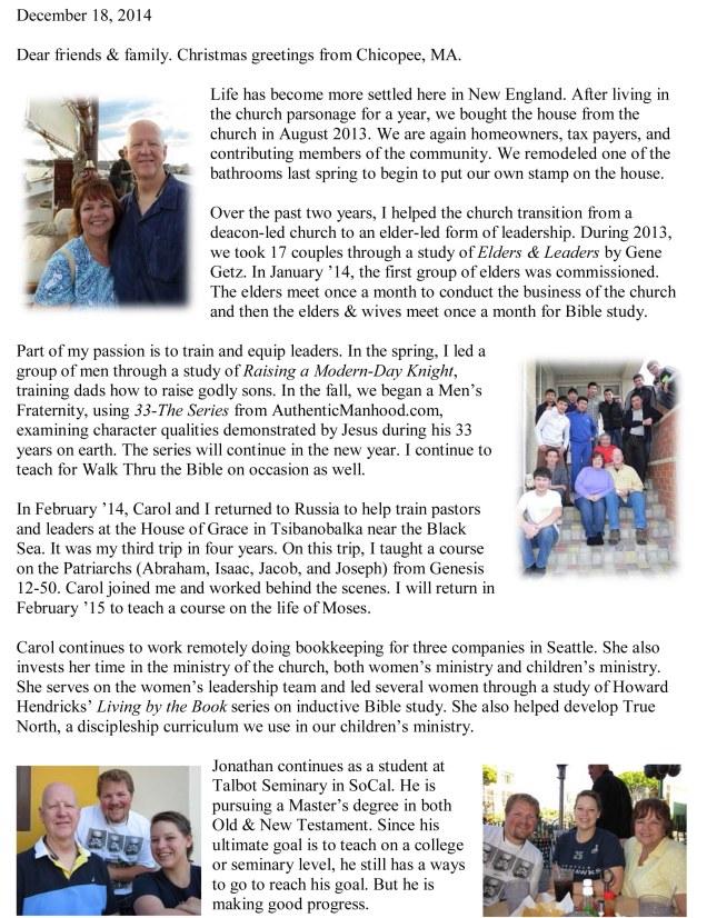 Wheeler Family Christmas letter 2014-1