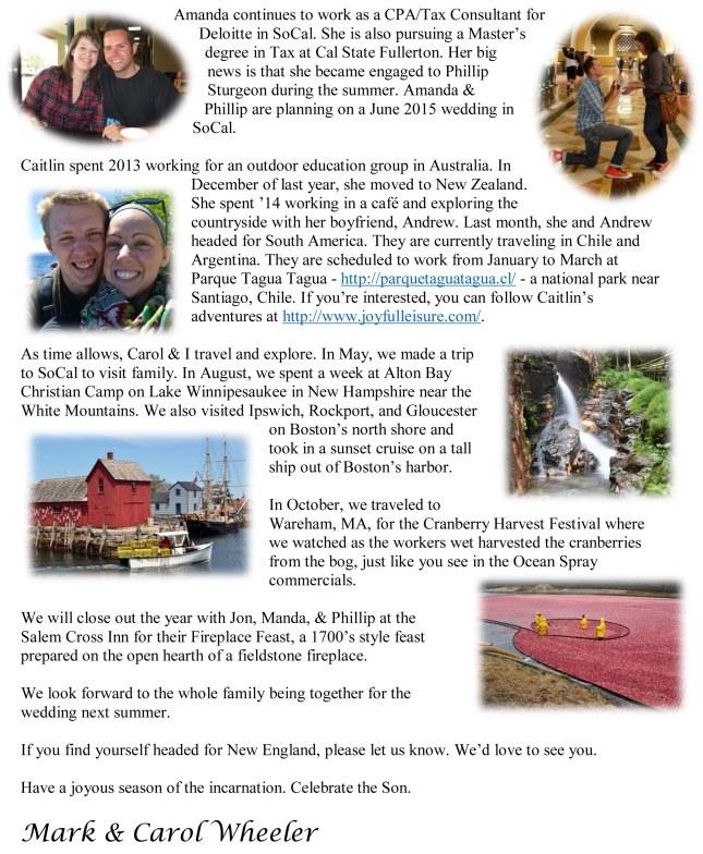Wheeler Family Christmas letter 2014-2