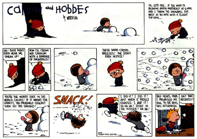 Calvin & Hobbes - snowball fight
