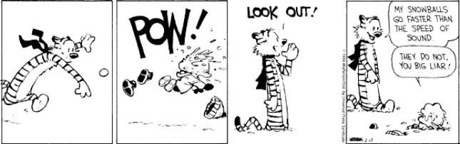 Calvin & Hobbes - snowballs at speed of light