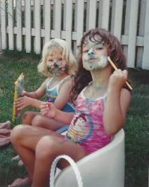 Amanda and Caitlin-Paint Day-Aug 1992